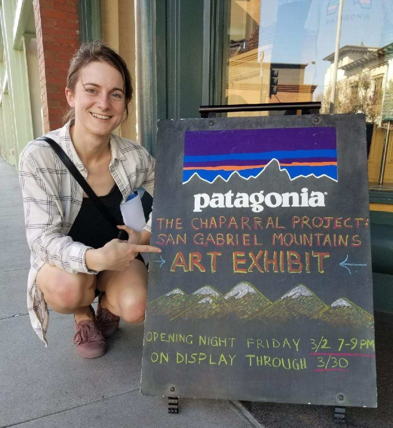 Christina Harrington with Patagonia sign